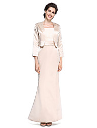 LAN TING BRIDE Trumpet / Mermaid Mother of the Bride Dress - Elegant Ankle-length 3/4 Length Sleeve Satin with Lace Ruching