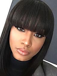 130% Density Malaysian Virgin Hair Lace Front Bob Wigs Straight Hair Natrual Black Color Virgin Human Hair Lace Wigs With Bang