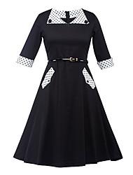 Gaine Robe Femme Soirée / Cocktail Vintage,Points Polka Couleur Pleine Col en V Mi-long ½ Manches Noir Coton Polyester Eté Taille Haute