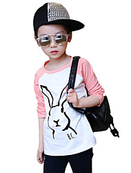 Girl's Cotton Fashion Spring/Winter/Autumn Casual/Daily Cartoon Rabbit Print Long Sleeve T-shirt Children Under Shirt Blouse