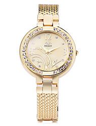 Mujer Reloj de Moda Reloj Pulsera Simulado Diamante Reloj Cuarzo La imitación de diamante Aleación Banda Flor ElegantesPlata Dorado Oro