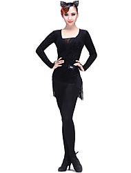 Latin Dance Dresses Women's Training Velvet Tassel(s) 1 Piece Long Sleeve Dress