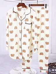 Sign spring new long-sleeved cotton pajamas girl cartoon bear suit tracksuit