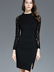 Women's Formal Party/Cocktail Sexy Bodycon Dress,Solid Lace Round Neck Above Knee Long Sleeve Polyester Black Spring High Rise Inelastic
