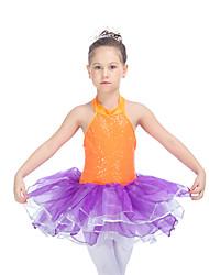 Latin Dance Tutus & Skirts Women's Children's Performance Nylon Organza Sequined Tulle Lycra Buttons Ruffles Splicing 1 Piece Sleeveless