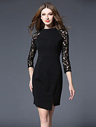 Women's Going out Sophisticated Lace Dress,Jacquard Lace Round Neck Above Knee Long Sleeve Polyester Black Spring Mid Rise Inelastic