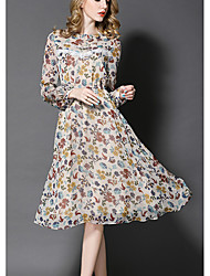 Women's Going out Holiday Vintage Street chic Sophisticated Sheath Swing Dress,Floral Ruffle Pleated Round Neck Knee-length Long Sleeve