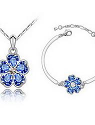 Jewelry 1 Necklace 1 Bracelet Crystal Party Alloy 1set Women Blue Green Pink Dark Navy Wedding Gifts