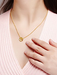 Pendant Necklaces Jewelry Round Sterling Silver Basic Fashion Gold Jewelry For Daily Casual 1pc