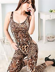 Damen Besonders sexy Teddy Anzüge Nachtwäsche Tiermuster Druck Polyester Mehrfarbig