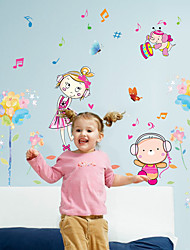 Cartoon Colorful Flowers Girl Note Wall Stickers DIY Removable Children's Bedroom Wall Decals
