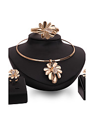 Women Gold Wedding Gifts Party Alloy Flower ShapeRhinestone Necklace Four - piece Set