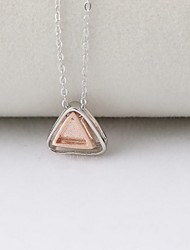 Necklace Non Stone Pendant Necklaces Jewelry Daily Casual Triangle Design Sterling Silver Women 1pc Gift Silver