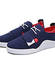 Men's Sneakers Spring Fall Comfort PU Casual Flat Heel Hook & Loop Black Blue Black/White