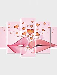 Impression sur Toile Abstrait Personnage Moderne Réalisme,Cinq Panneaux Toile Toute Forme Imprimer Art Décoration murale For Décoration
