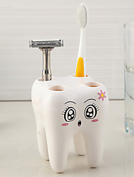 1Pcs  White  Cartoon Toothbrush Holder Teeth Style 4 Hole Stand Tooth Brush Shelf Bathroom Accessories Sets