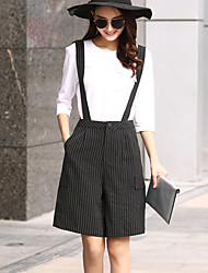Women's Plus Size Straight Wide Leg Chinos Shorts Pants,Going out Casual/Daily Simple Cute Striped Pleated Patchwork High RiseZipper