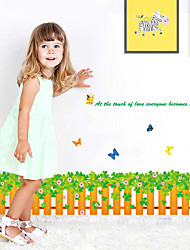 Creative Clover Fence With Butterfly Wall Stickers Removable DIY Living Room Bedroom Wall Decals Fashion Home And Garden