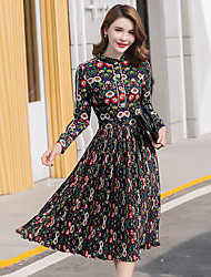 Sign 2017 spring new printing temperament ladies long-sleeved long section collar pleated dress