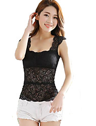 Women's Sexy Lace Tank Top Deep U Neck Solid Vest