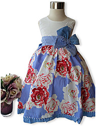 Girl's Kids Floral Print 3D Flower Pageant Little Princess Sleeveless Cotton Casual Dress