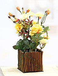 European classical wooden fence simulation flowers The sitting room adornment flowers Simulation of plastic pot