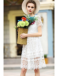 Women's Going out Casual/Daily Holiday Simple Loose Dress,Solid Round Neck Knee-length Short Sleeve Polyester White Spring Summer Low Rise