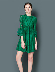 EWUS/Women's Going out Casual/Daily Sophisticated A Line DressSolid Round Neck Above Knee  Sleeve Flare Sleeve Polyester Green Spring Summer
