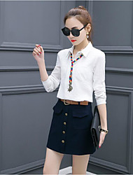 Women's Going out Simple Spring Fall Shirt Skirt Suits,Solid Shirt Collar Long Sleeve Polyester
