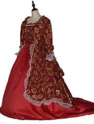 Costumes de Cosplay Princesse Déesse Costumes de père noël Fête / Célébration Déguisement d'Halloween Rouge vin Couleur Pleine Robe