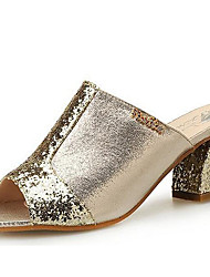 Women's Sandals Spring Summer Fall Gladiator Synthetic Party & Evening Dress Casual Chunky Heel Sparkling Glitter Silver Rose Gold