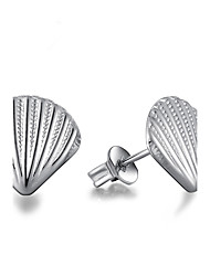 Shell Non Stone Stud Earrings Jewelry Wedding Party Halloween Daily Casual Alloy Silver Plated 1 pair Silver