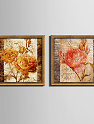 E-HOME® Framed Canvas Art Rose Retro Effect Framed Canvas Print Set One Pcs