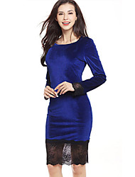 Women's Casual/Daily Sexy Simple Bodycon Lace Dress,Patchwork Round Neck Mini Above Knee Long Sleeve Polyester Blue Pink Red Black Green