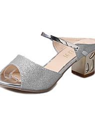 Damen Slippers & Flip-Flops Komfort Glanz Sommer Normal Walking Komfort Ausgehöhlt Blockabsatz Block Ferse Gold Silber 5 - 7 cm