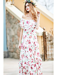 Women's Off The Shoulder/Ruffle/Boho Going out Holiday Simple Loose Dress,Floral Boat Neck Maxi Sleeveless Polyester Pink Spring High Rise Inelastic