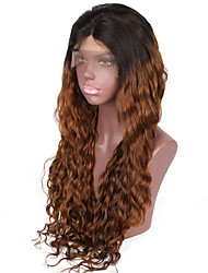Beata Hair Brazilian Hair Wigs Natural Wave Ombre Wig Black Dark Auburn Glueless Lace Front Wig