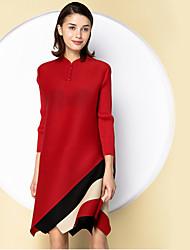 Damen Tunika Kleid-Ausgehen Anspruchsvoll Einfarbig Ständer Übers Knie ¾-Arm Rot Schwarz Grün Polyester Frühling Sommer Mittlere Hüfthöhe