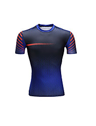 Unisex Short Sleeve Running Tops Breathable Comfortable Summer Sports Wear Running LYCRA® Slim Black Blue Patchwork