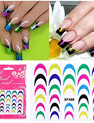 1sheets Shining Colorful French Tips Nail Stickers Nail Art Decals Fashion Sexy DIY Decorations Polish Accessory XF496