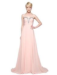 2017 Lanting Bride® Floor-length Chiffon Elegant Bridesmaid Dress - A-line Sweetheart with Beading Pleats