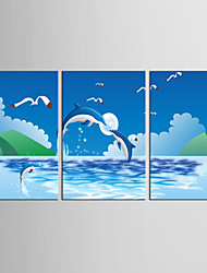 Canvas Set Landscape Animal Classic European Style,Three Panels Canvas Vertical Print Wall Decor For Home Decoration