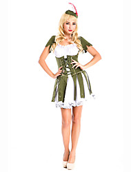 Inspired by Cosplay Anime Cosplay Costumes Cosplay Suits Solid White Green Long Sleeve Dress For Female