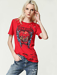 Women's Cut Out Punk Rock T Shirt Print Vintage Hollow Out Short Sleeve Tees Hip Hop Plus Size Tops