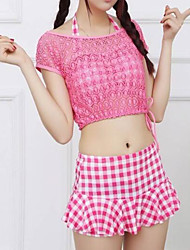 Women's Tankini,Color Block Polyester Pink Black