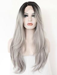 hot atacado rendas glueless peruca moda cabelo virgem peruca reta cinza prateado ombre rendas frente peruca de cabelo humano