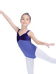 Ballet Leotards Women's Children's Training Cotton Velvet Lycra Pleated Splicing Color Block 1 Piece Sleeveless Leotard