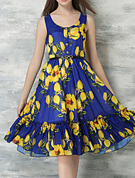 Women's Going out Beach Holiday Vintage Cute Street chic A Line Chiffon Swing Dress,Floral Patchwork Cut Out Ruffle Pleated Round Neck