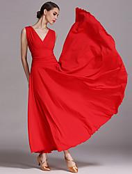 Danse de Salon Robes Femme Spectacle Viscose Au drapée 1 Pièce Sans manche Robe