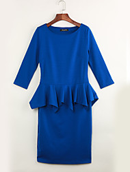 Women's Formal / Work / Party Sexy Sheath Dress,Solid Round Neck Knee-length ¾ Sleeve Blue Polyester Spring / Fall High Rise